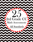 25 Math Assessments 2nd Grade Test Prep CCSS- All Standards