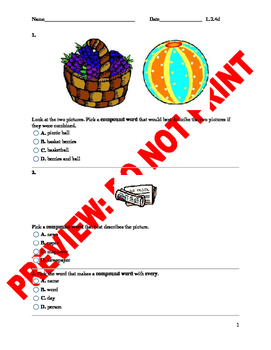 2nd Grade CCSS Compound Words Assessment