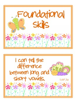 """2nd Grade CCSS ELA & Math """"I Can"""" Statements (Butterfly Themed)"""