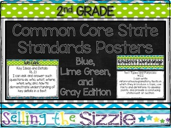 2nd Grade CCSS I Can/We Can Display Posters-Blue/Green/Gray Themed