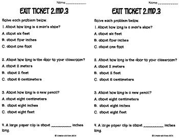 Estimating and Measure Lengths Math Tasks and Exit Tickets