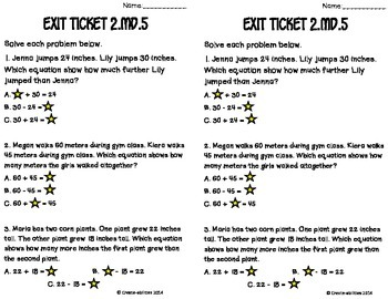 Measurement Word Problems Within 100 Math Tasks and Exit Tickets