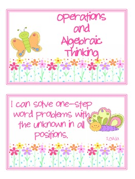 "2nd Grade CCSS Math ""I Can"" Statements (Butterfly Theme)"