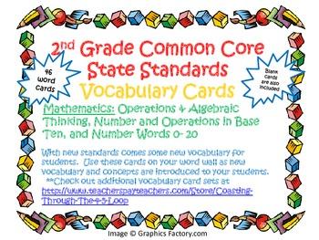 2nd Grade CCSS Math Vocabulary Cards Set 1