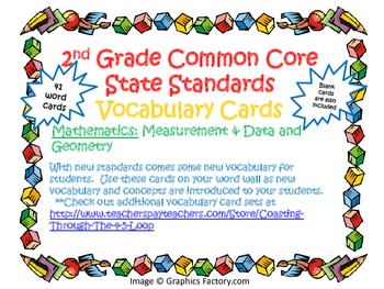 2nd Grade CCSS Math Vocabulary Cards Set 2