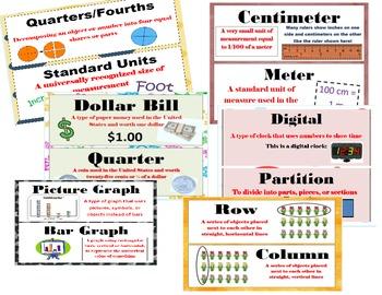 2nd Grade CCSS Math Vocabulary Word Wall Cards Bulletin Board/Math Centers