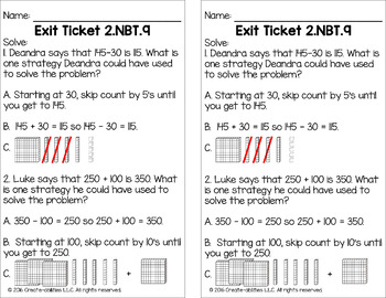 10 and 100 More or Less Math Tasks and Exit Tickets