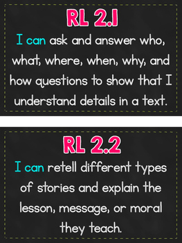 """2nd Grade CCSS Reading Standards """"I Can"""" Mini Posters {Chalkboard & Bright}"""