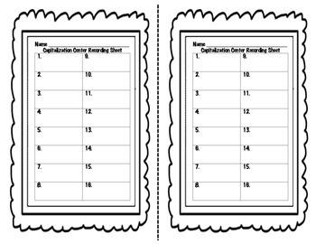Second Grade Capitalization Test Prep Center- Common Core Aligned