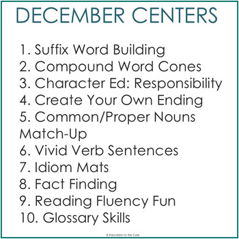 2nd Grade Literacy Centers for December