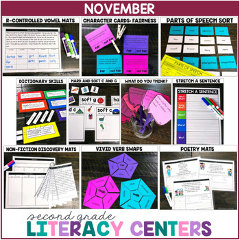 2nd Grade Literacy Centers for November