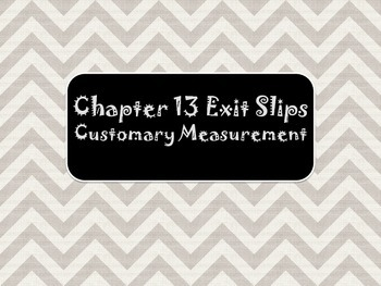 2nd Grade Chapter 13 Math in Focus Daily Exit Slips