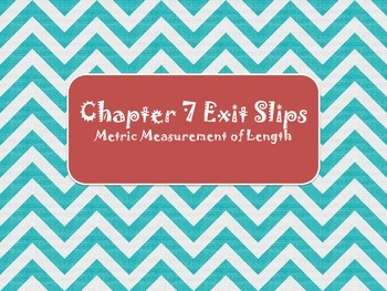 2nd Grade Chapter 7 Math in Focus Daily Exit Slips