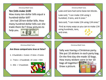 2nd Grade Christmas Common Core Math Task Cards