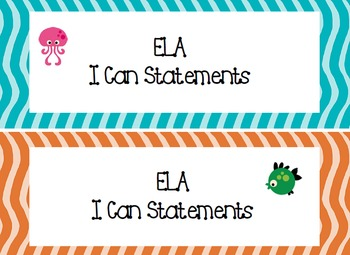 2nd Grade I Can Statements Common Core ELA- Ocean Theme