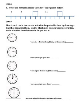 2nd Grade 1st Quarter Common Core Math Assessment (ANSWER KEY INCLUDED)