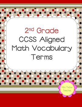 2nd Grade Common Core Aligned Math Vocabulary/Black & Red Polka Dots