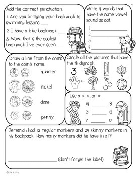 2nd Grade  August Morning Seat Work- Common Core Aligned
