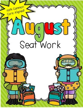 2nd Grade Common Core: August Morning Seat Work Packet