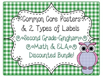 2nd Grade Common Core CCSS Labels and Posters Math and ELA-Gingham