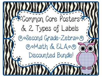 2nd Grade Common Core CCSS Labels and Posters Math and ELA-Zebra Print