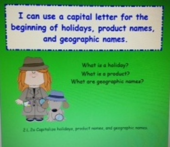 2nd Grade Common Core Capitalize Holidays, Products, Geography L.2.2a SMARTboard