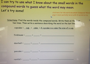 2nd Grade Common Core Compound Words 2.L.4d SMARTBoard