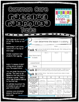 2nd Grade Common Core Connected Reading Response Tasks