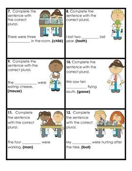 2nd Grade Common Core:  Creating Irregular Plurals Task Cards