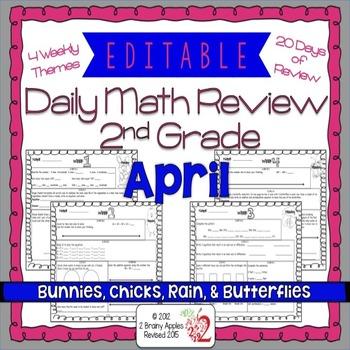 Math Morning Work 2nd Grade April Editable