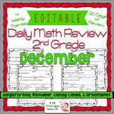 Math Morning Work 2nd Grade December Editable, Spiral Revi