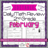 Math Morning Work 2nd Grade February Editable, Spiral Revi