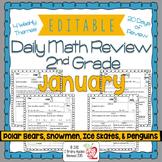 Math Morning Work 2nd Grade January Editable, Spiral Revie