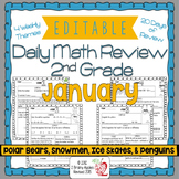 Math Morning Work 2nd Grade January Editable