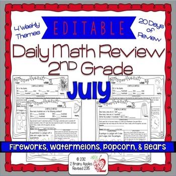 Math Morning Work 2nd Grade July Editable
