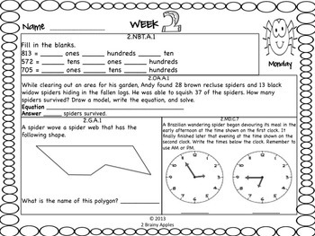 Math Morning Work 2nd Grade Bundle Editable