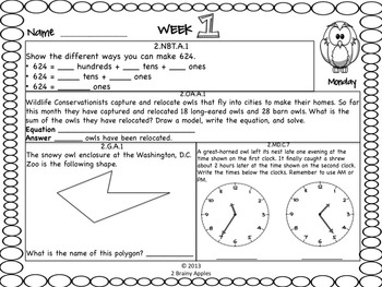 Math Morning Work 2nd Grade October Editable