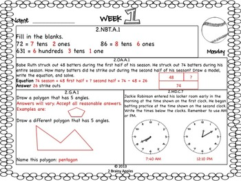 Math Morning Work 2nd Grade September Editable