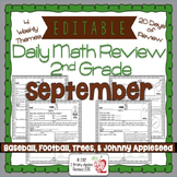 Math Morning Work 2nd Grade September Editable, Spiral Review, Distance Learning