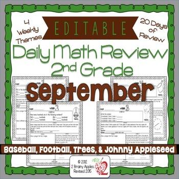 Math Morning Work 2nd Grade September Editable