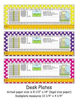 2nd Grade Common Core Desk Plates: Dots