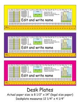 2nd Grade Common Core Desk Plates: Editable & 6 Colors
