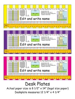 2nd Grade Common Core Desk Plates: Stripes: Editable