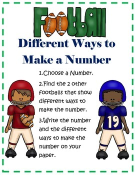 2nd Grade Common Core Different Ways to Make a Number- Football Center