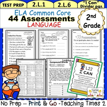 2nd Grade Common Core ELA Assessments-Language- 37 student pages