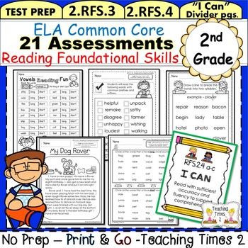 2nd Grade Common Core ELA Assessments- Reading Foundational ...