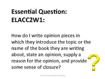 2nd Grade Common Core ELA Essential Questions for Posting