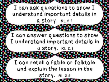 2nd Grade Common Core ELA I Can Statement Cards_Dots