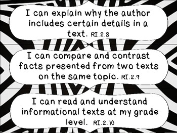 2nd Grade Common Core ELA I Can Statement Cards_Zebra
