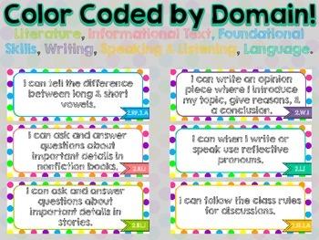 "2nd Grade Common Core ELA ""I Can"" Statements (Polka Dot)"